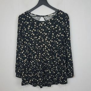 American Eagle Outfitters Floral Daisy Open Back Keyhole Flowy Top Size XS